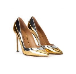 Point-toe high heel pumps in gold and silver mirrored leather Pura López