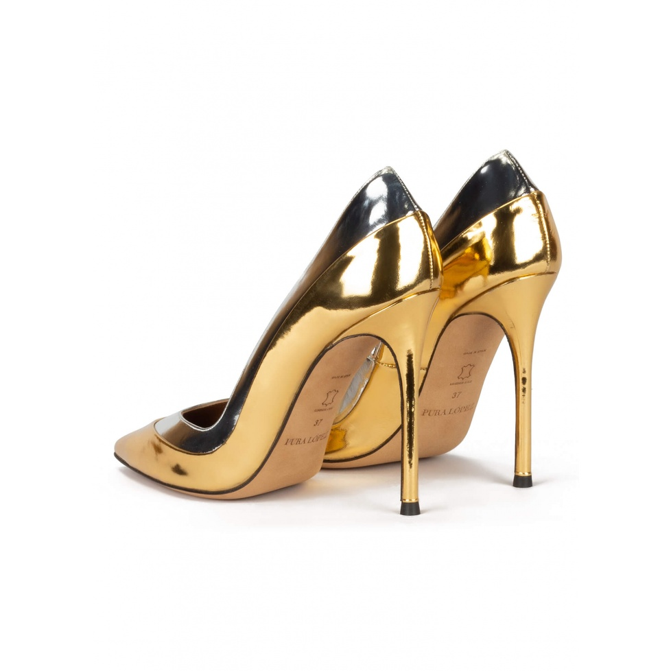 Point-toe high heel pumps in gold and silver mirrored leather