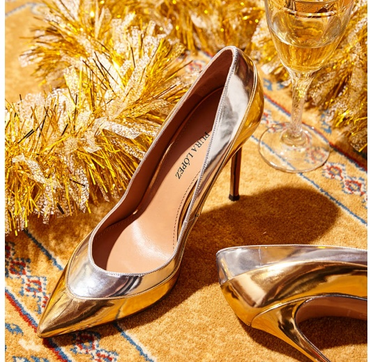 Point-toe high heel pumps in gold and silver mirrored leather Pura L�pez