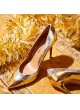 Point-toe high heel pumps in gold and silver leather