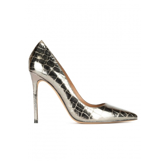 Silver croco-effect leather high heel pointy toe pumps Pura L�pez