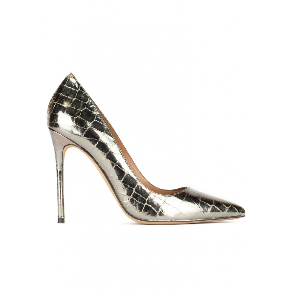 Silver croco-effect leather high heel pointy toe pumps
