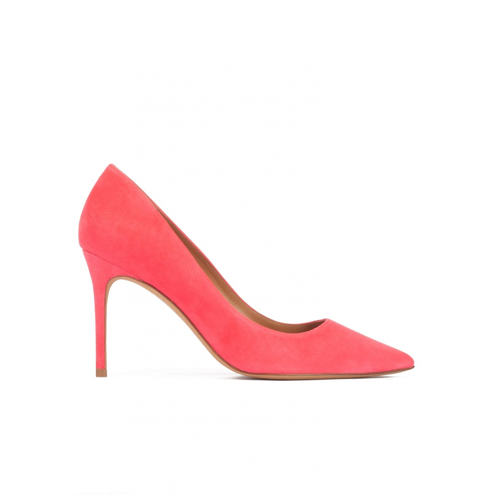 Pointed toe high heel pumps in coral pink suede