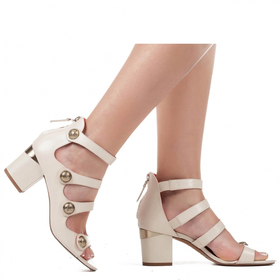 Mid heel sandals with metal buttons - online shoe store Pura Lopez