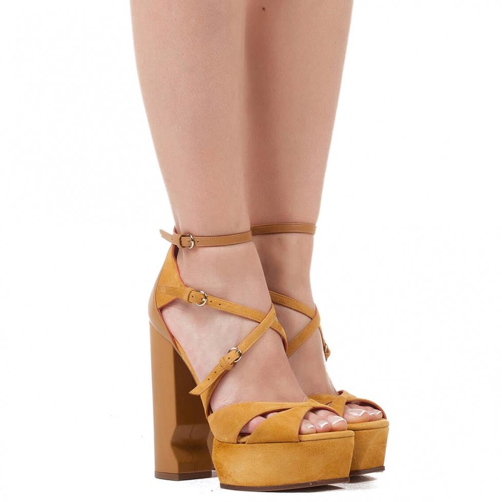 Tobacco suede platform sandals - shoe store Pura López