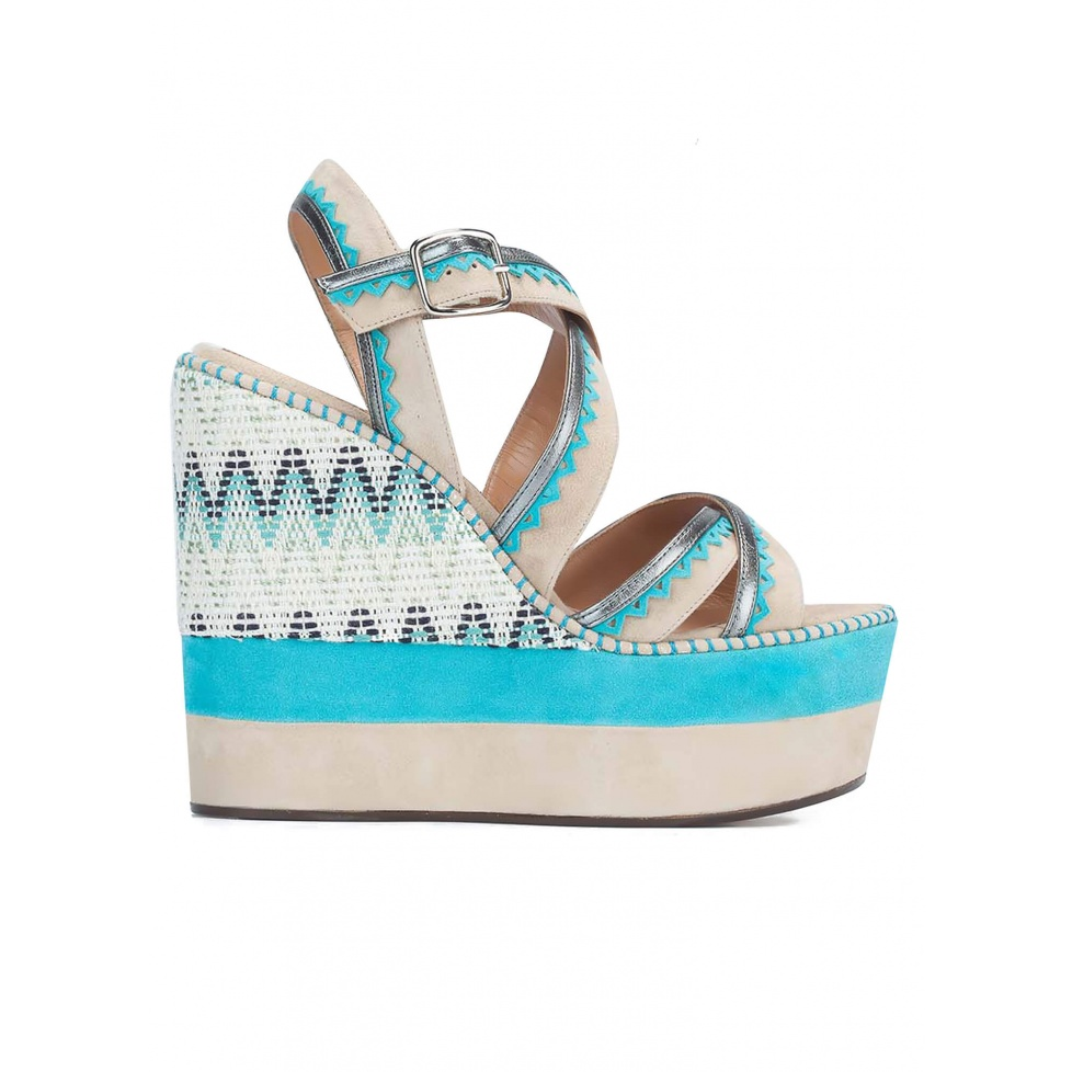 Strappy high sandals with printed wedge