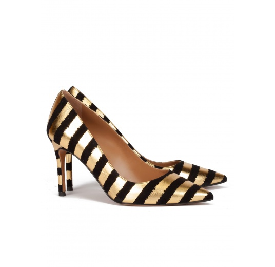 Striped pointy toe pumps in black and gold suede Pura L�pez