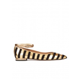 Striped ankle strap point-toe flats in black and gold Pura López
