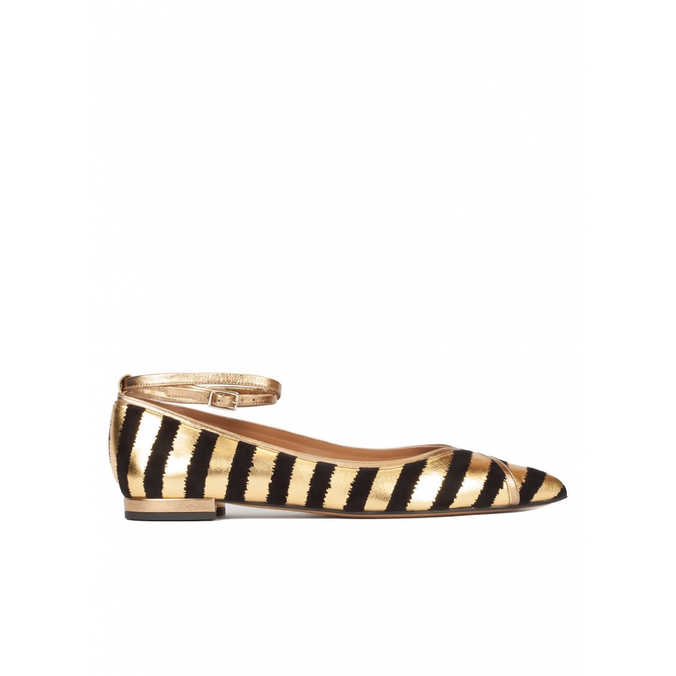 Striped ankle strap point-toe flats in black and gold