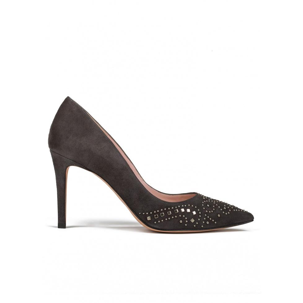 Studded high heel pumps in grey suede
