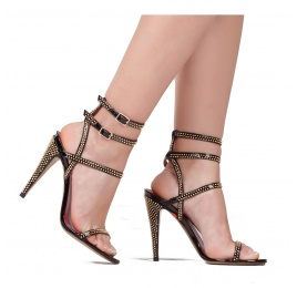 Studded high heel sandals in black patent leather Pura López