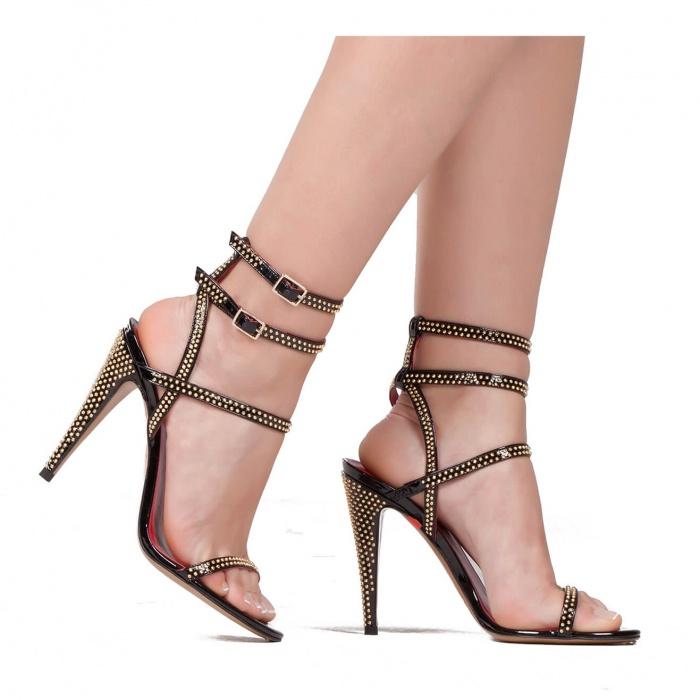 Black studded high heel sandals - online shoe store Pura Lopez