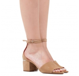Ankle strap mid block heel sandals in sand suede Pura López