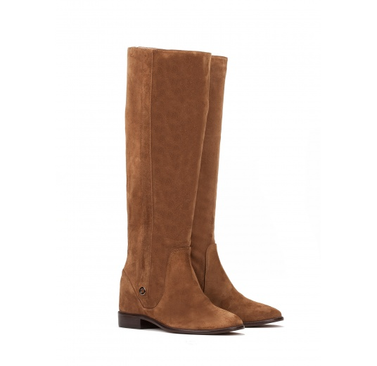 Concealed wedge boots in brown suede Pura L�pez