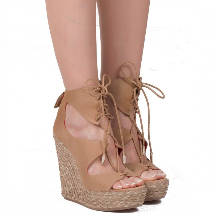 Wedge sandals in sand suede - online shoe store Pura Lopez
