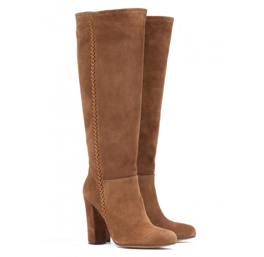 High block heel boots in brown suede Pura López
