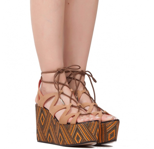 Lace-up wedge sandals in hazelnut Pura L�pez
