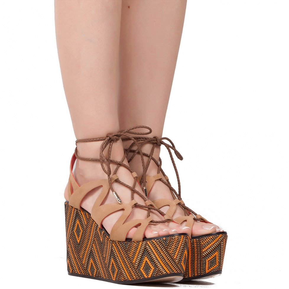 Lace-up wedge sandals in suede - online shoe store Pura Lopez