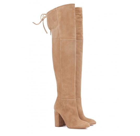 Over-the-knee high block heel boots in camel suede Pura López