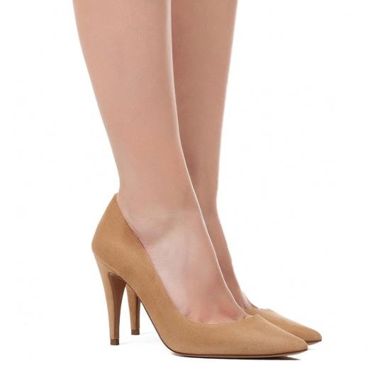 High heel pumps in hazelnut suede Pura L�pez