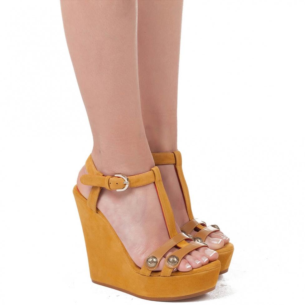 Wedge sandals in tobacco suede - online shoe store Pura Lopez
