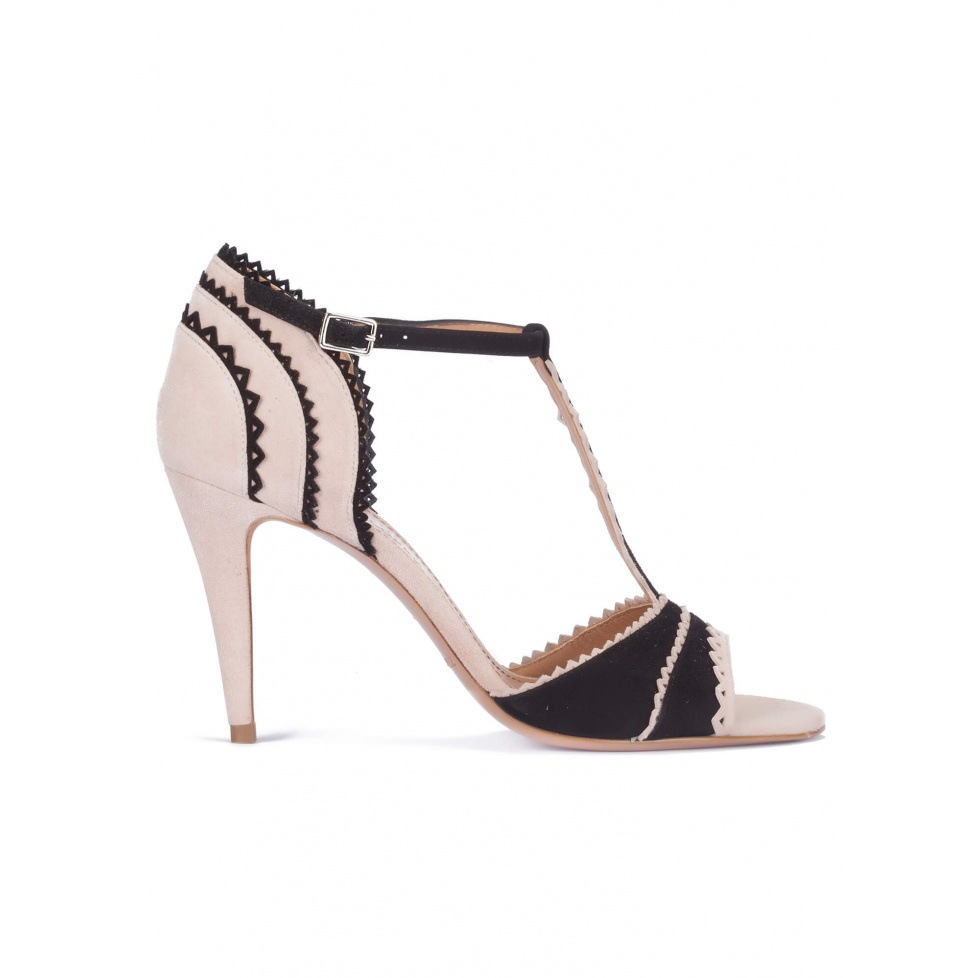 Two-tone t-bar heeled sandals