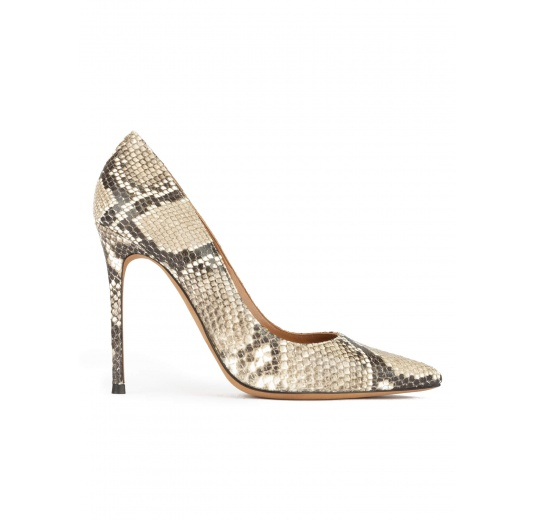 Point-toe high heel pumps in grey snake-effect leather Pura L�pez