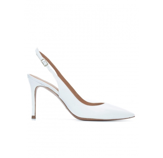Slingback heeled pumps in white calf leather Pura L�pez