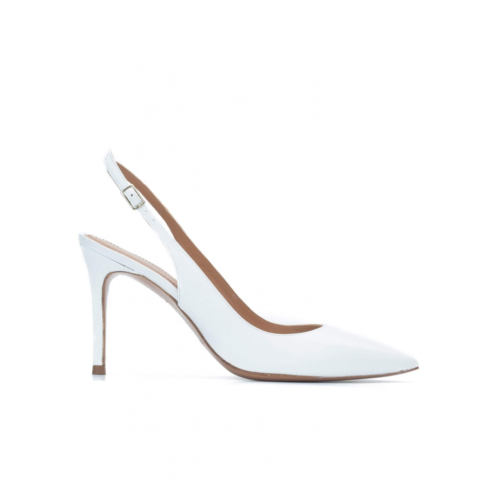 Slingback heeled pumps in white calf leather