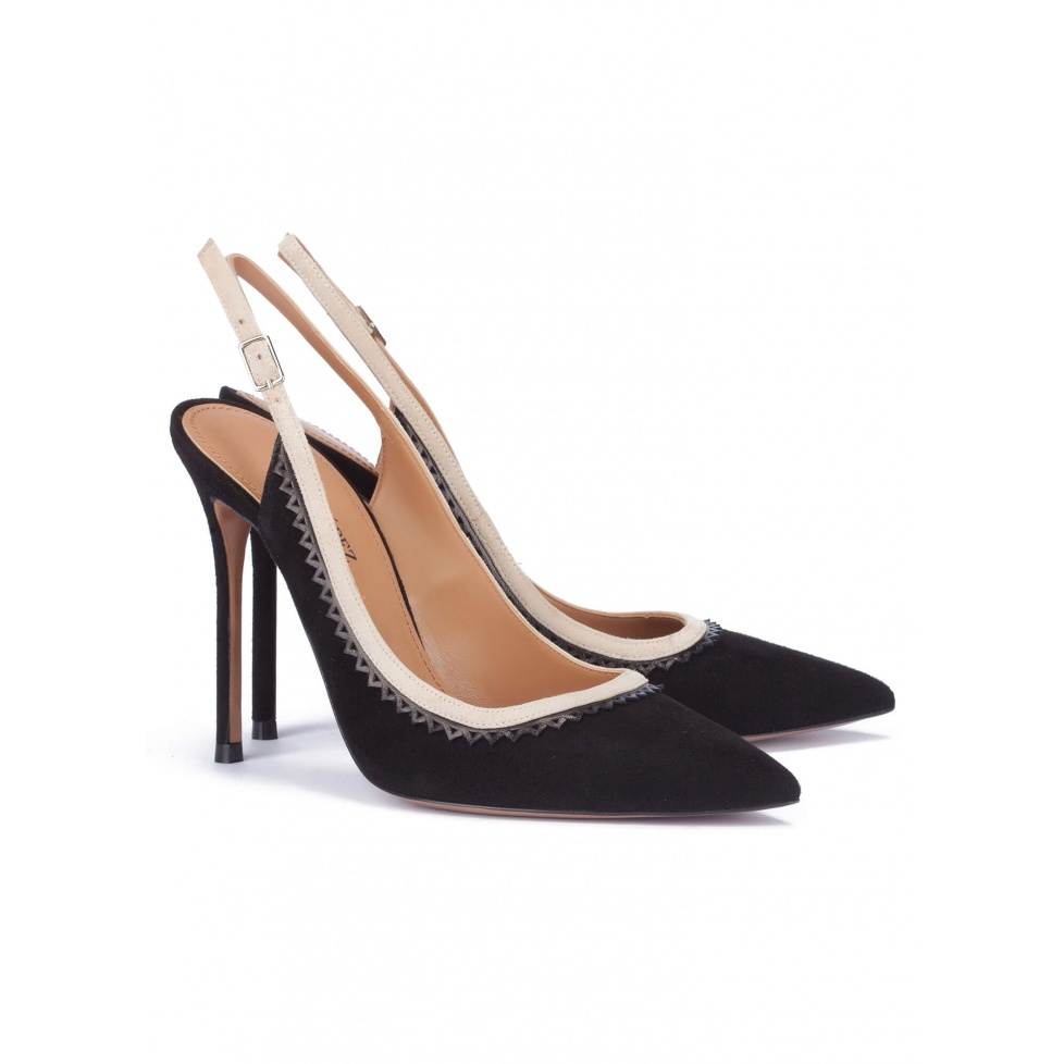 Heeled pumps in black suede - online shoe store Pura Lopez