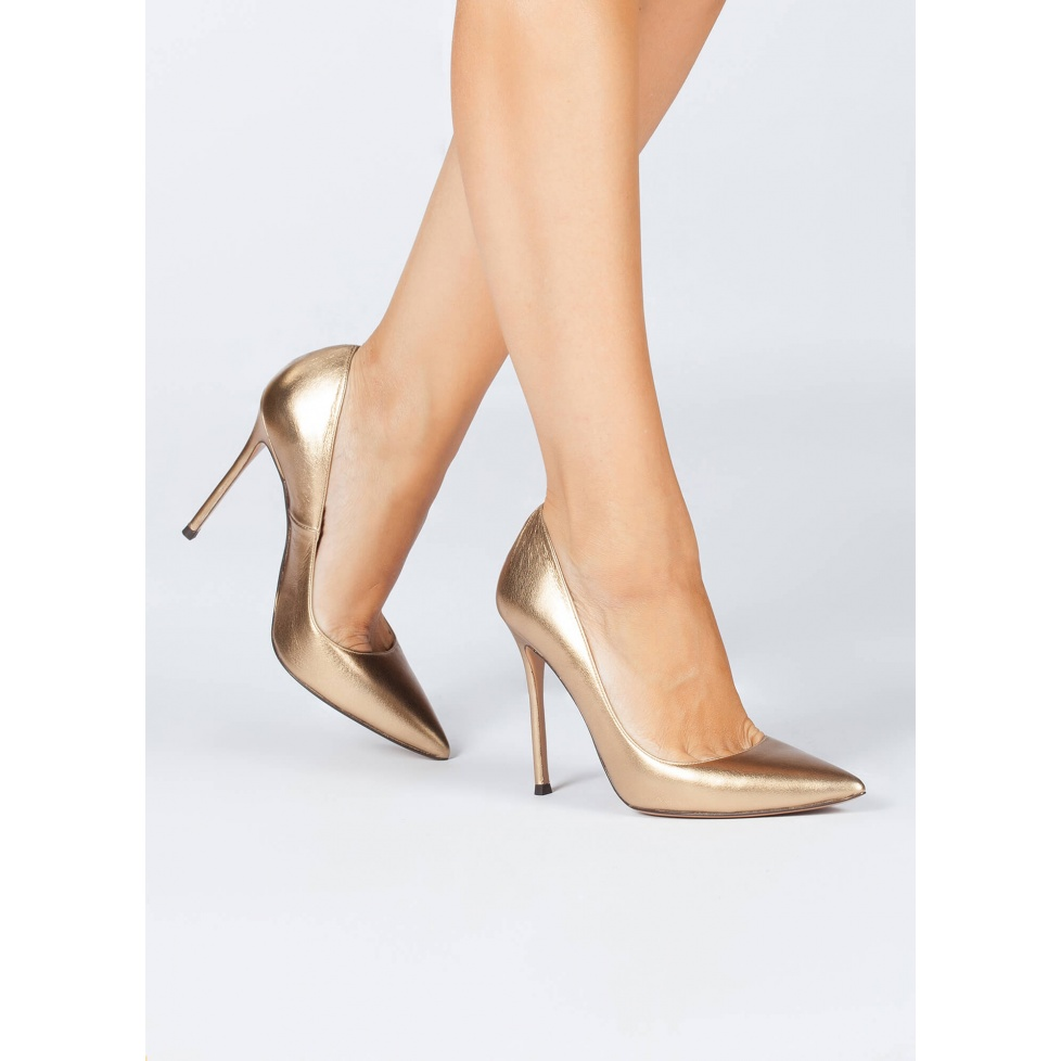 Golden stiletto pumps - online shoe store Pura Lopez