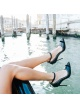 Black leather ankle strap high heel pointed toe shoes