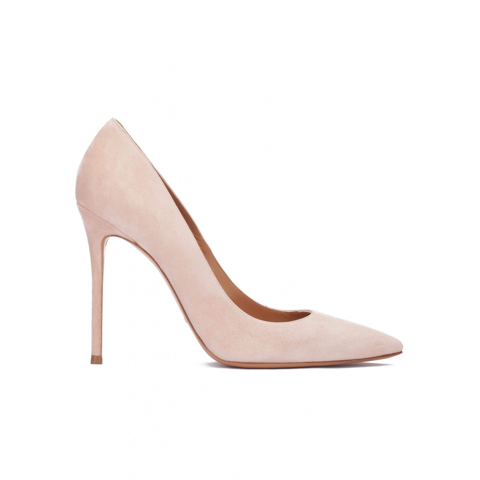 High heel pointy toe pumps in nude suede
