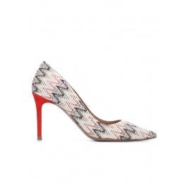 Zapatos de punta fina en tejido multicolor Pura López