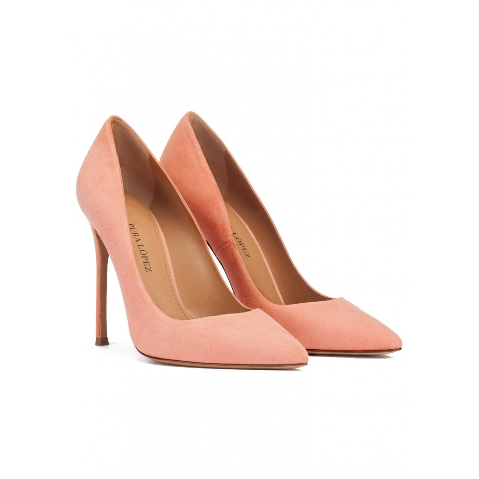 Heeled point-toe pumps in old rose suede