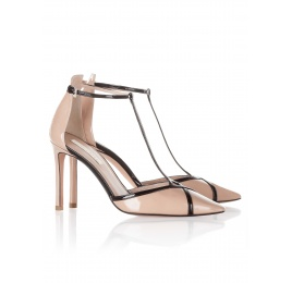 High heel shoes in nude and black patent leather Pura López