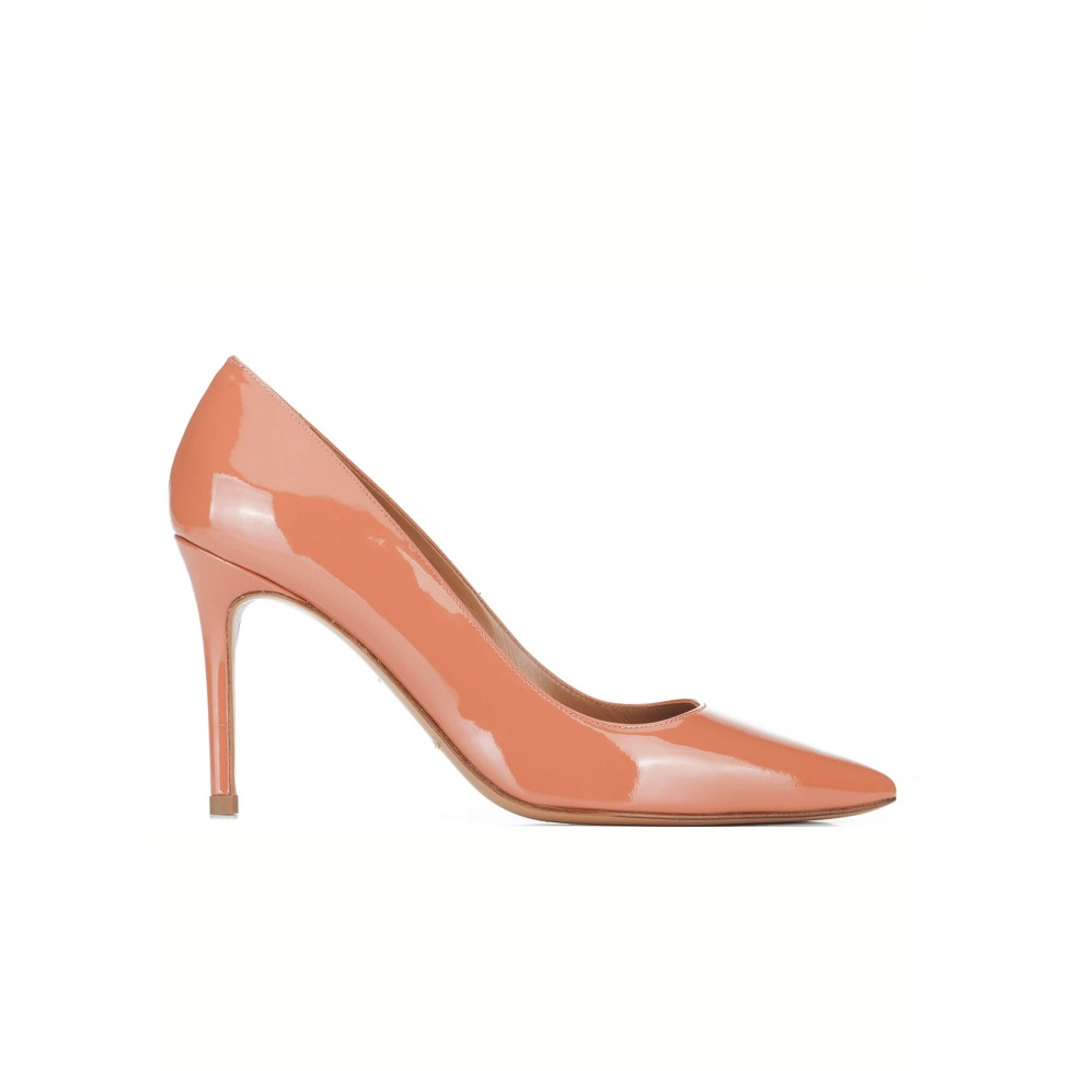Old rose patent point-toe pumps