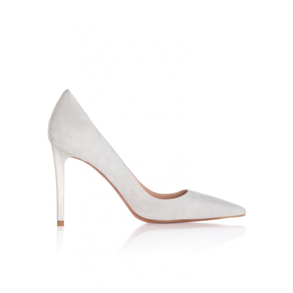 Zapatos de salón con tacón alto en ante gris