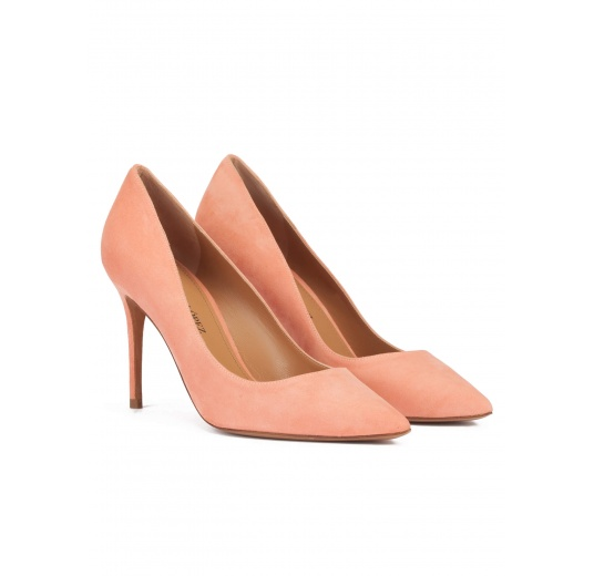 Heeled pointy toe pumps in old rose suede Pura L�pez