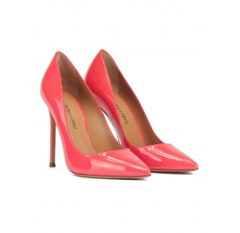 High heel pointed toe pumps in coral pink patent leather Pura López