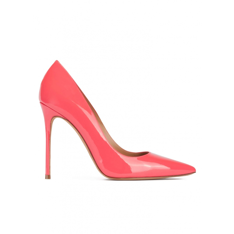 High heel pointed toe pumps in coral pink patent leather