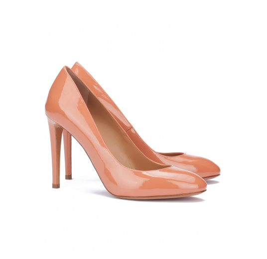 Old rose patent leather heeled pumps Pura L�pez