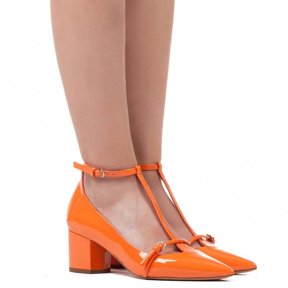 Mid heel shoes in orange patent - online shoe store Pura Lopez