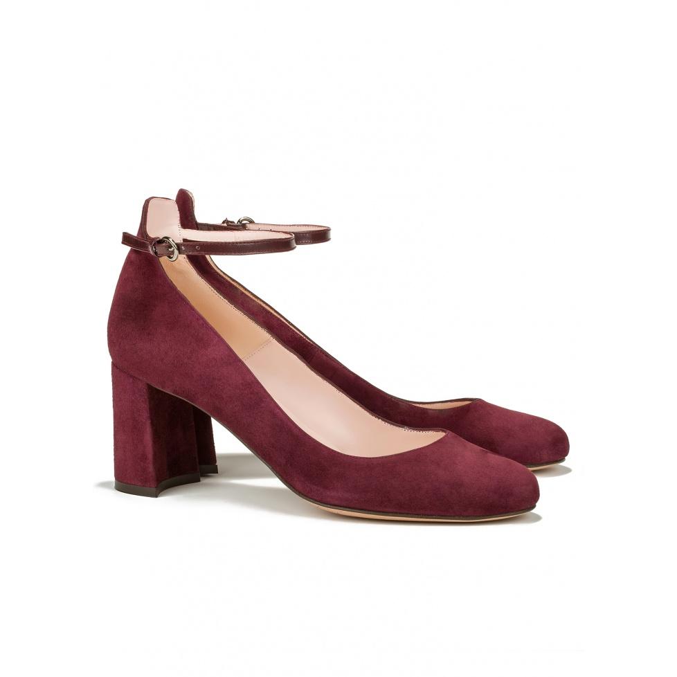 Zapatos de medio tacón en ante burdeos-tienda de zapatos Pura López
