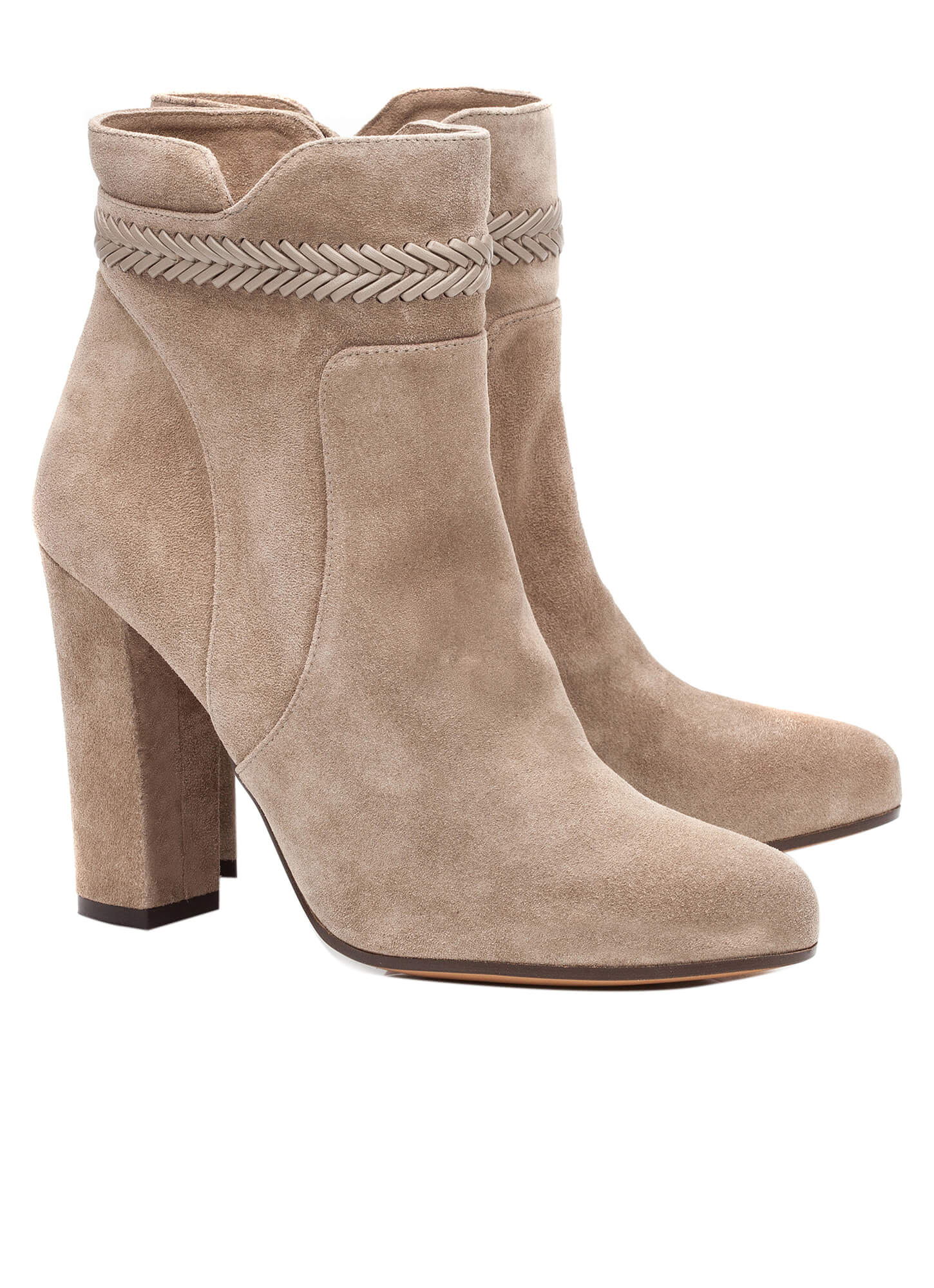 high heel ankle boots in taupe suede shoe store