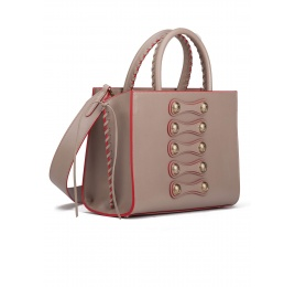 Button detailed bag in taupe leather Pura López