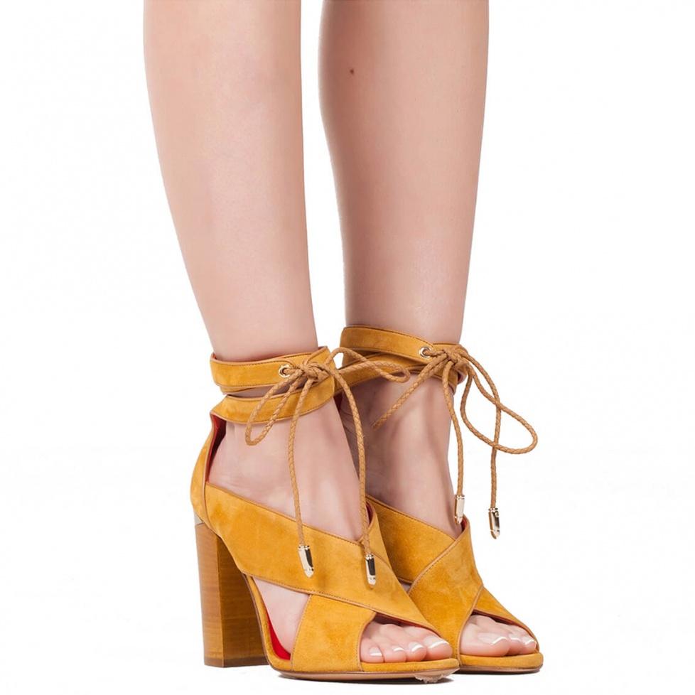 Sandalias de tacón ancho en ante camel - tienda oficial Pura López