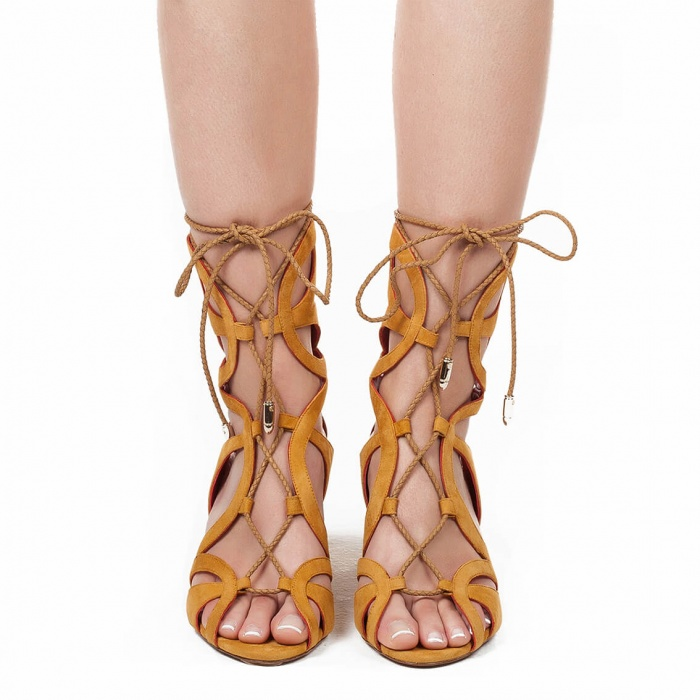 Lace-up mid chunky heel sandals in tobacco suede