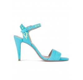 Tribal detailed sandals in turquoise suede Pura López