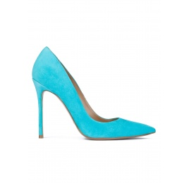Turquoise suede pointy toe high heel pumps Pura López